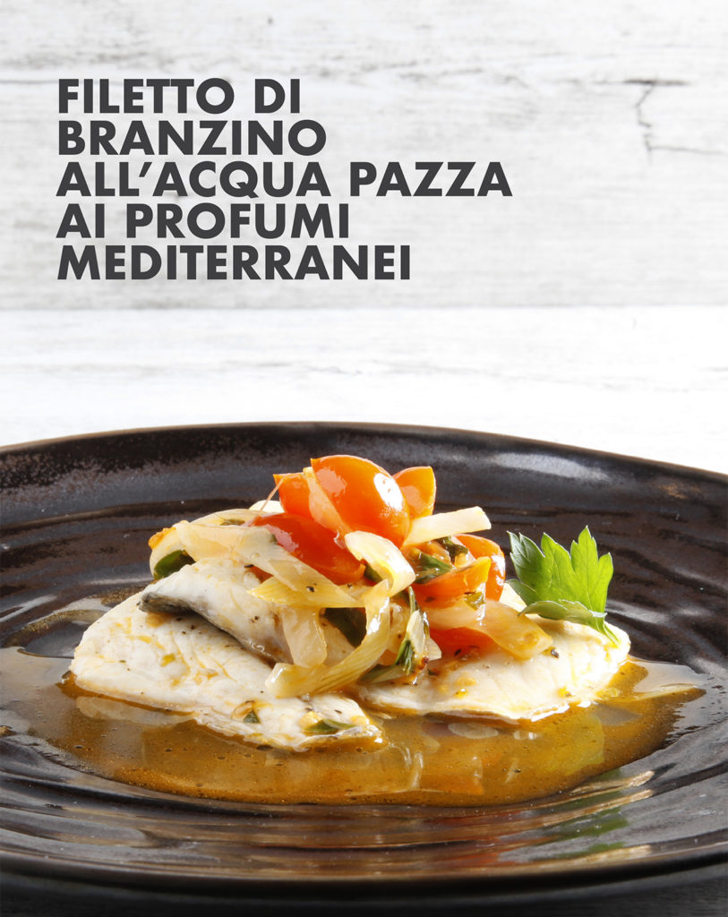 Filetto di branzino all'acqua pazza ai profumi mediterranei